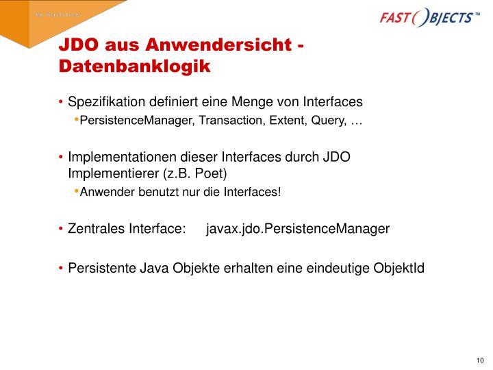 JDO aus Anwendersicht - Datenbanklogik