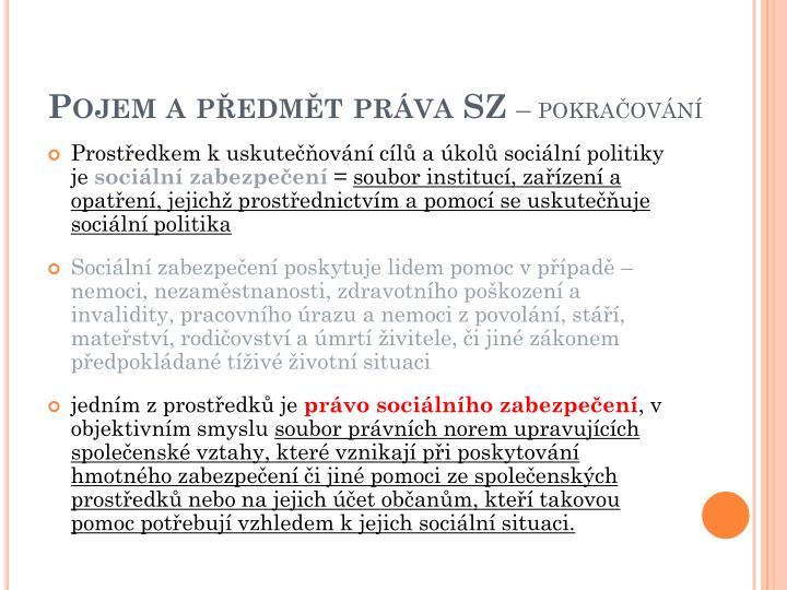 Pojem a předmět práva SZ