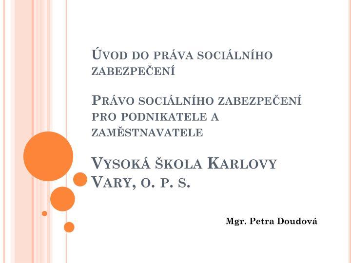 Úvod do práva sociálního zabezpečení