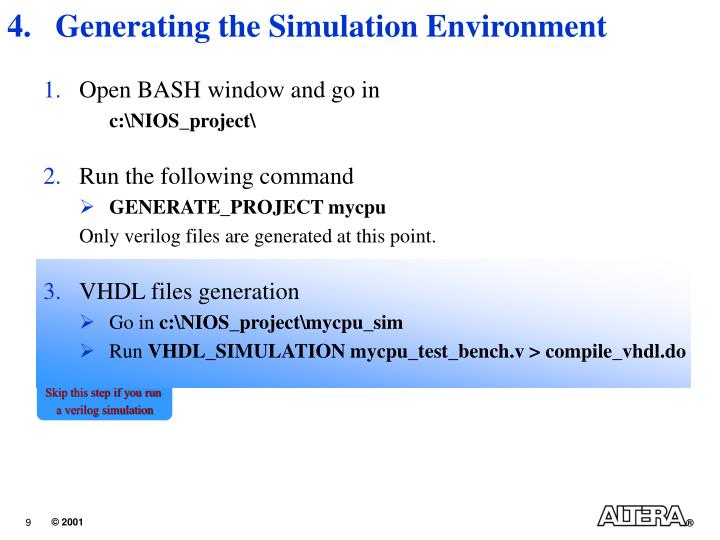 Generating the Simulation Environment