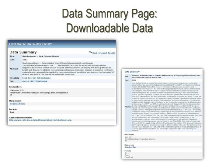 Data Summary Page: