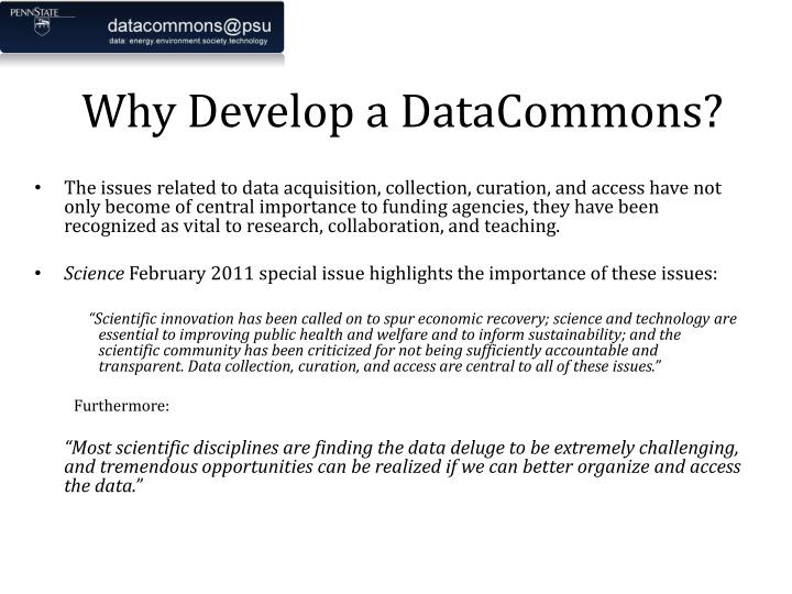 Why Develop a DataCommons?