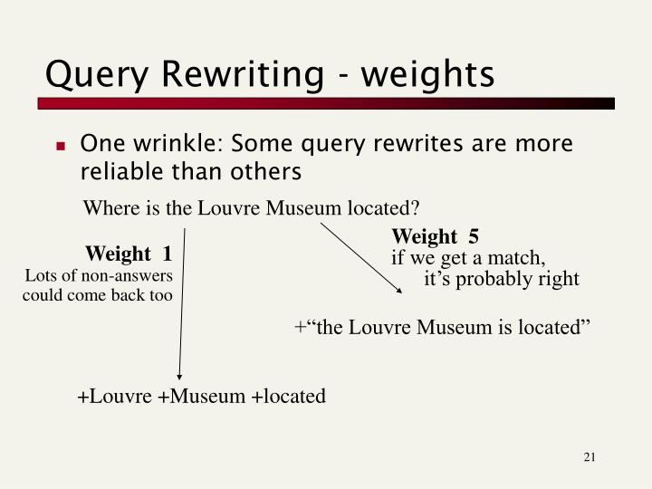 Query Rewriting - weights