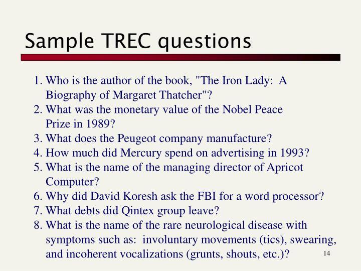 Sample TREC questions