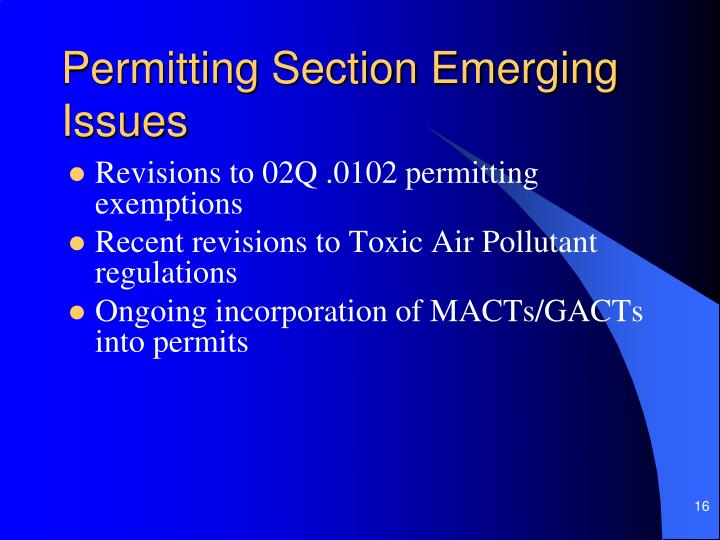 Permitting Section Emerging Issues