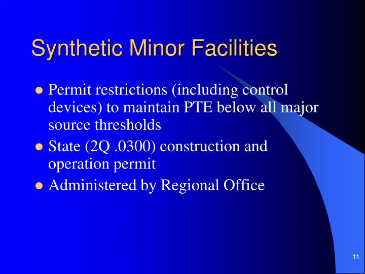 Synthetic Minor Facilities