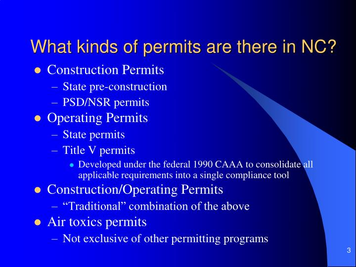 What kinds of permits are there in nc