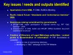 key issues needs and outputs identified1