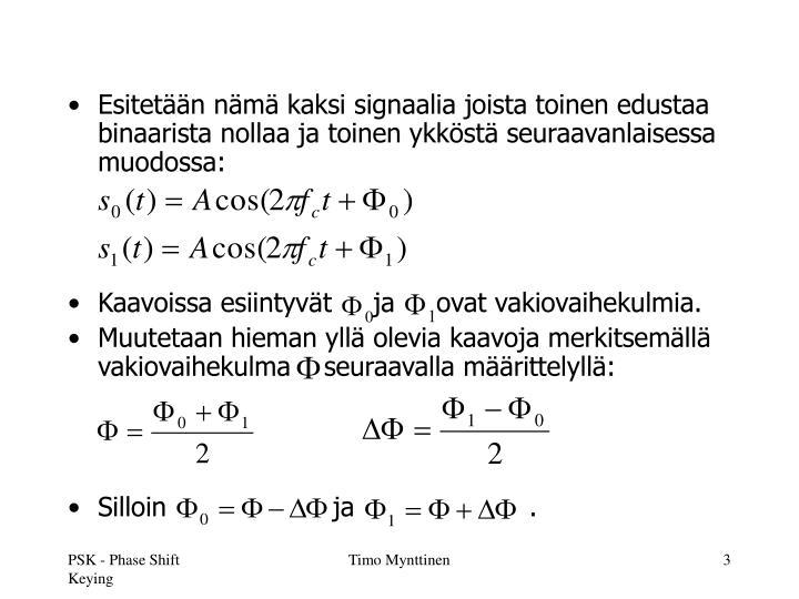 Esitetään nämä kaksi signaalia joista toinen edustaa binaarista nollaa ja toinen ykköstä seuraavanlaisessa muodossa: