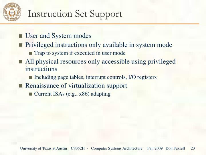 Instruction Set Support
