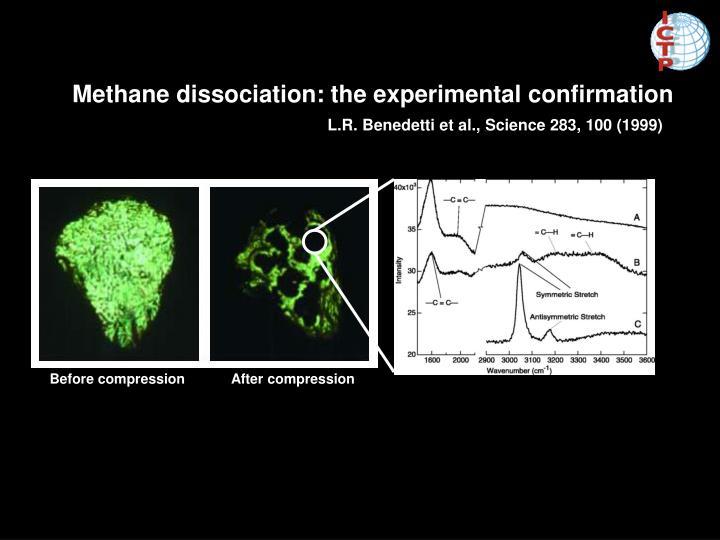 Methane dissociation: the experimental confirmation