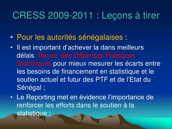 CRESS 2009-2011 : Leçons à tirer