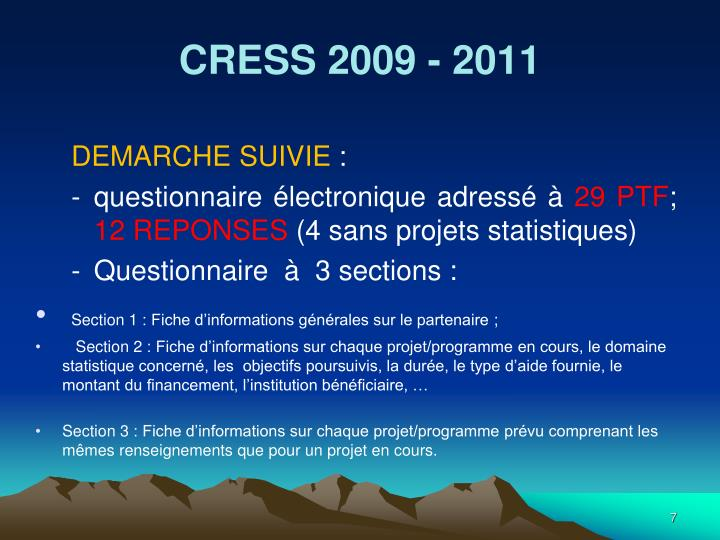 CRESS 2009 - 2011