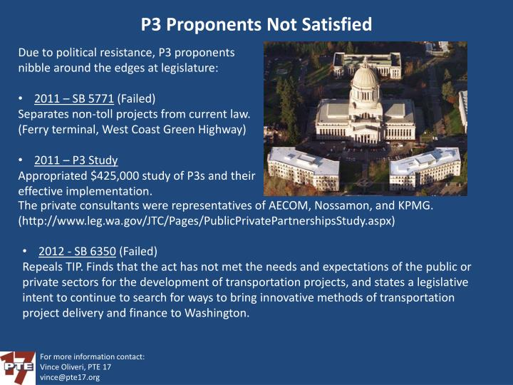 P3 Proponents Not Satisfied