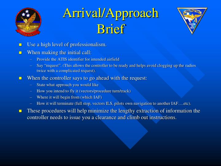Arrival/Approach Brief
