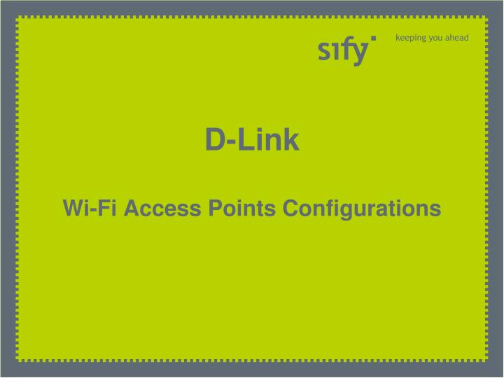 D link wi fi access points configurations