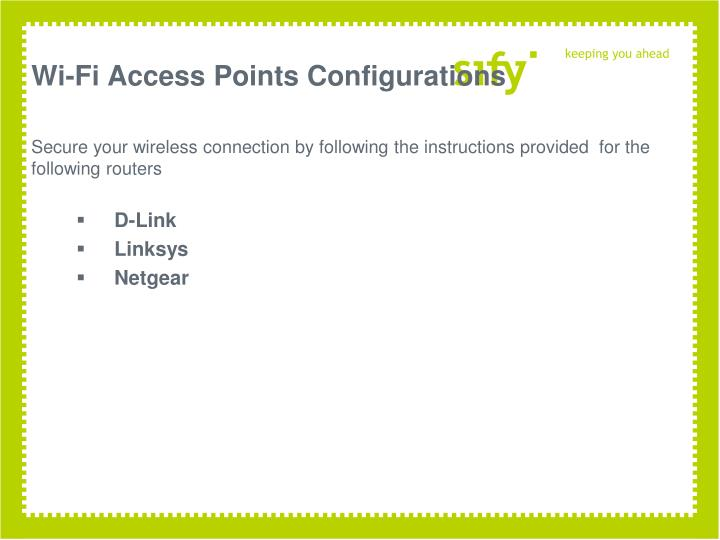 Wi fi access points configurations