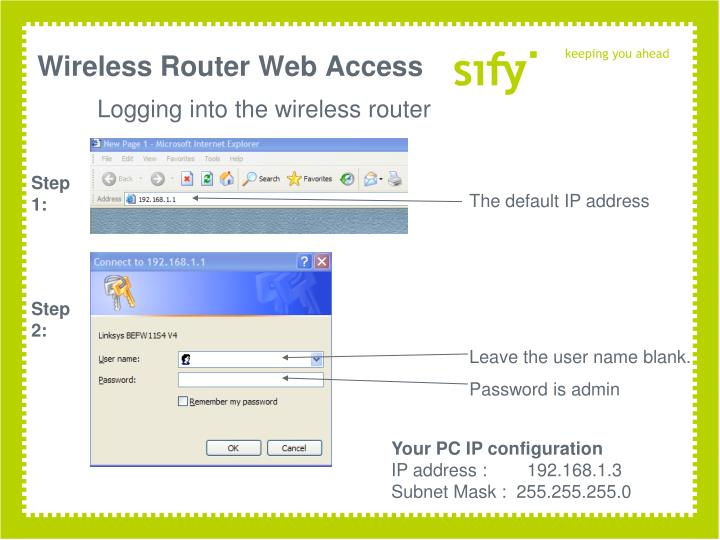 Wireless Router Web Access