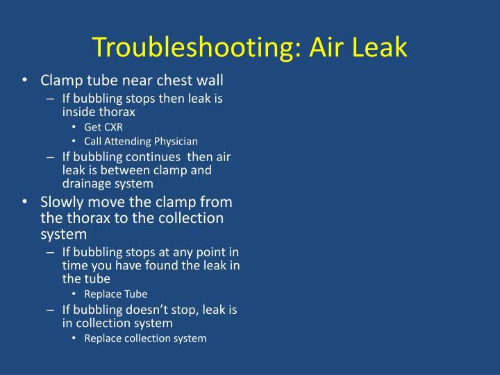 Troubleshooting: Air Leak