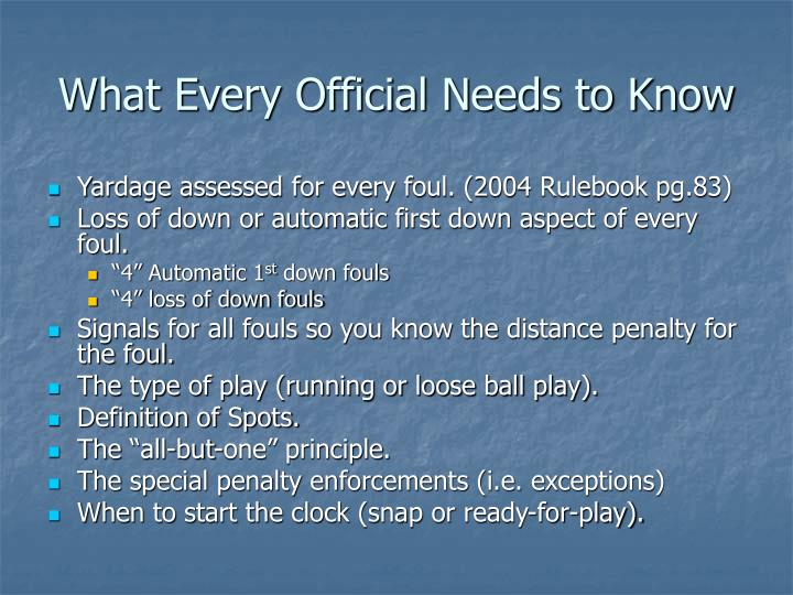What Every Official Needs to Know