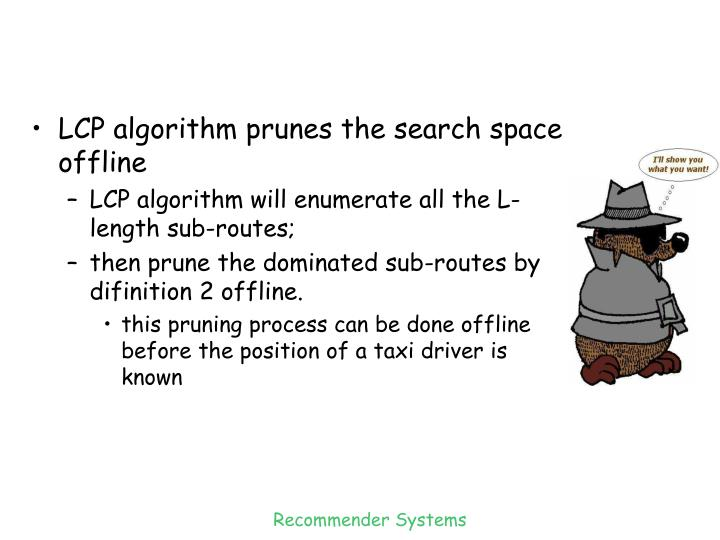 LCP algorithm prunes the search space offline