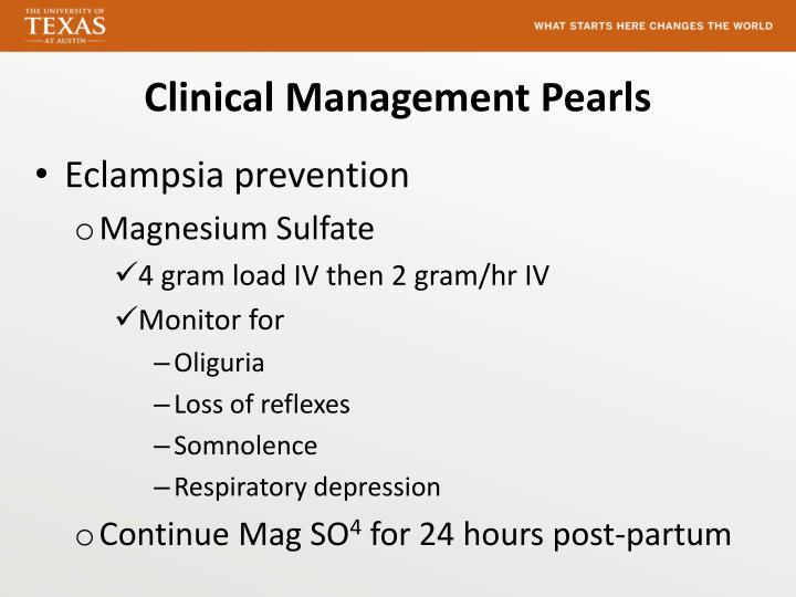 Clinical Management Pearls