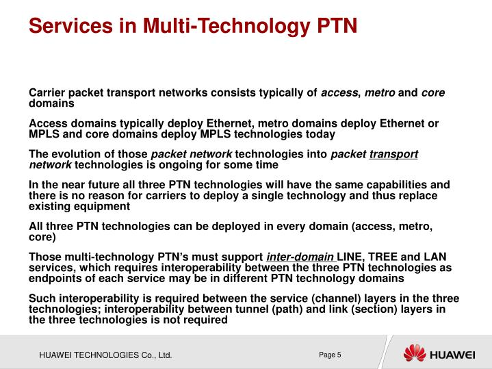 Services in Multi-Technology PTN
