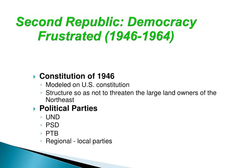 Second Republic: Democracy Frustrated (1946-1964)