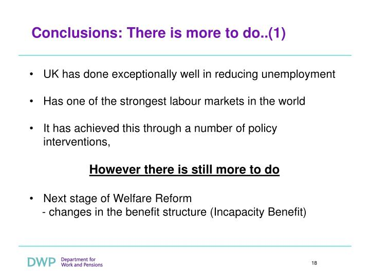 Conclusions: There is more to do..(1)