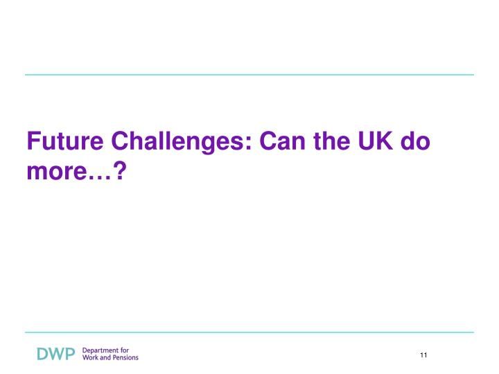 Future Challenges: Can the UK do more…?