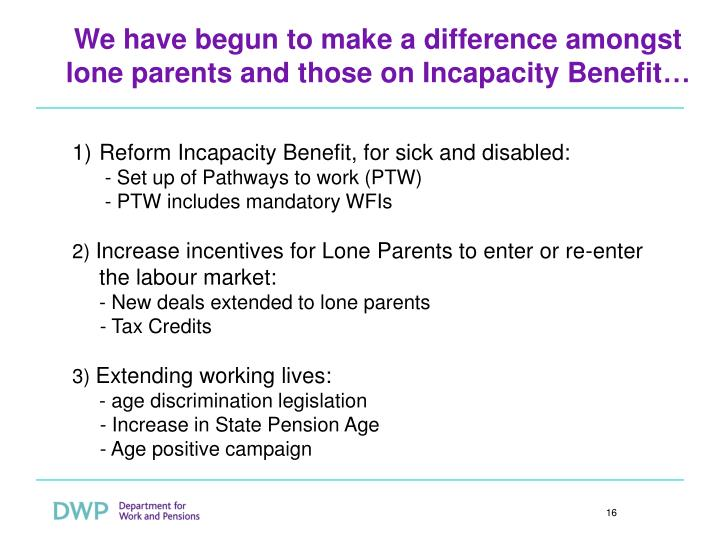 We have begun to make a difference amongst lone parents and those on Incapacity Benefit…