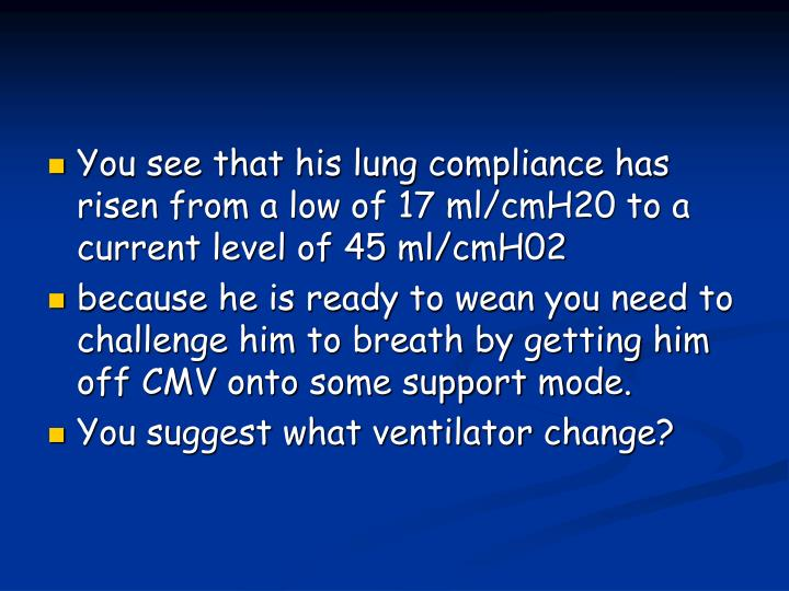 You see that his lung compliance has risen from a low of 17 ml/cmH20 to a current level of 45 ml/cmH02