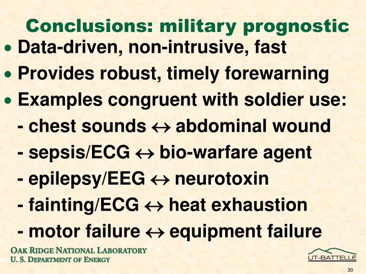 Conclusions: military prognostic