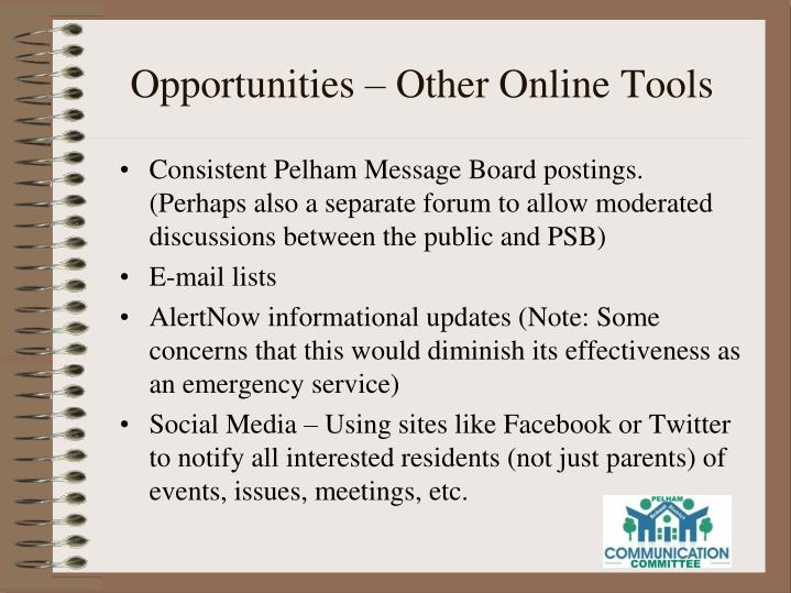Opportunities – Other Online Tools