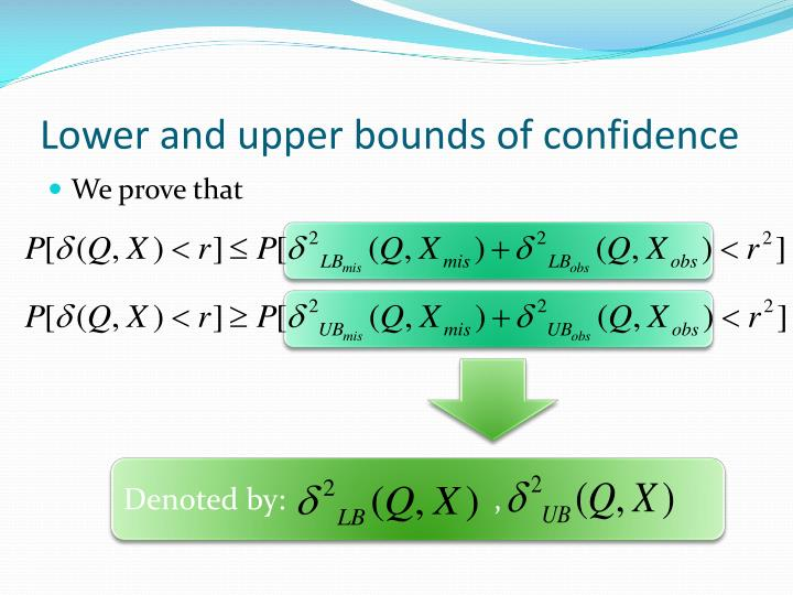 Lower and upper bounds of confidence