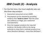 ibm credit ii analysis