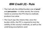 ibm credit ii rule