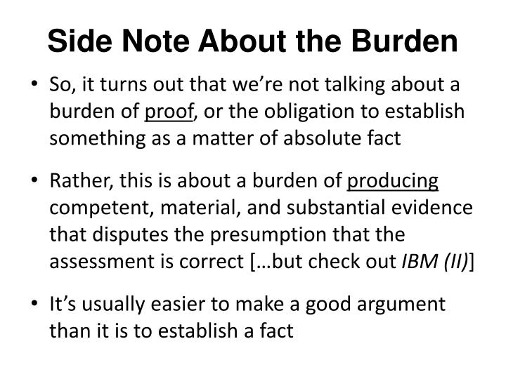 Side Note About the Burden