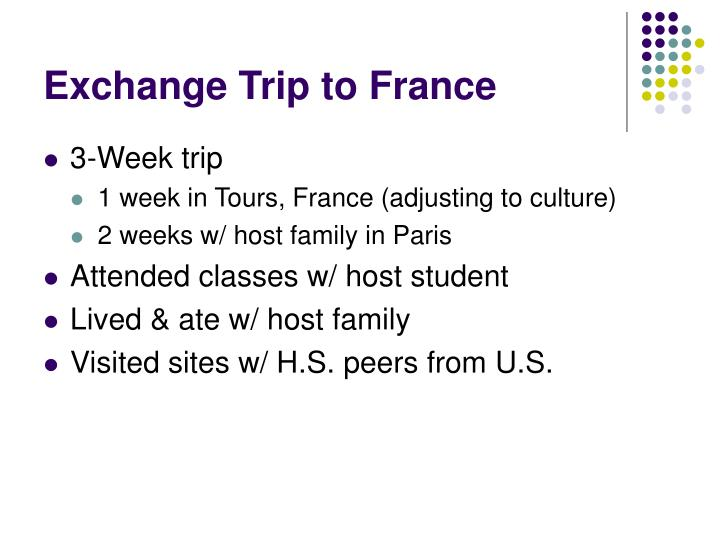 Exchange Trip to France