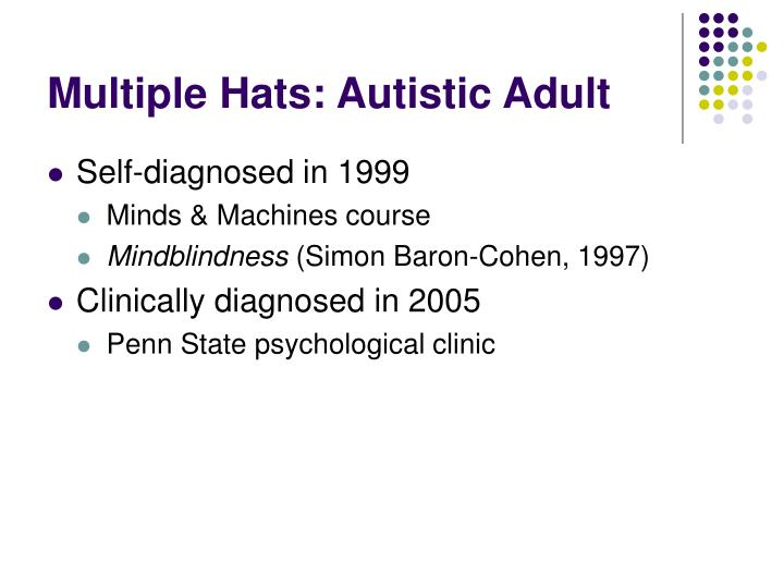 Multiple Hats: Autistic Adult