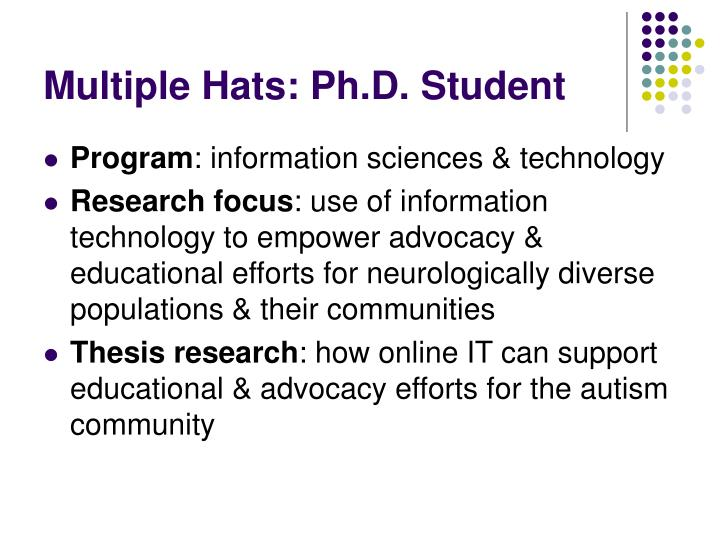 Multiple Hats: Ph.D. Student