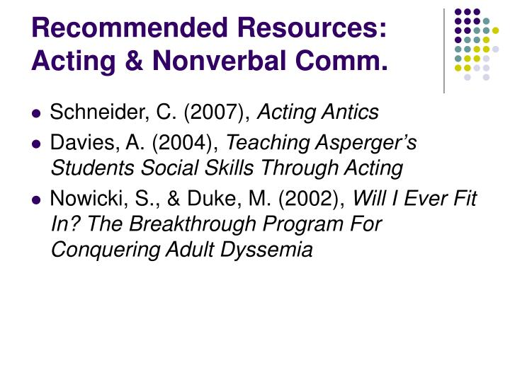 Recommended Resources: Acting & Nonverbal Comm.