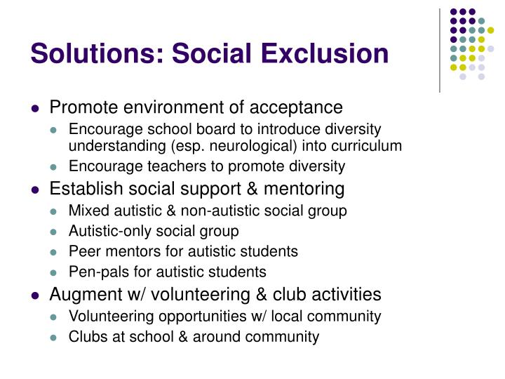 Solutions: Social Exclusion