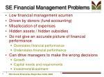 se financial management problems