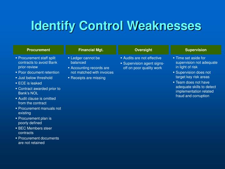 Identify Control Weaknesses