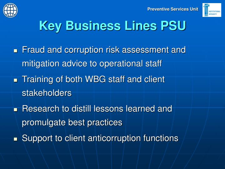Key Business Lines PSU