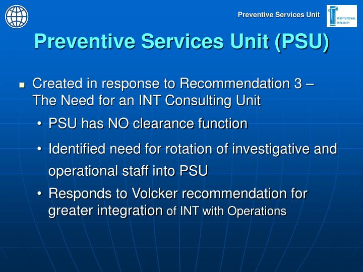 Preventive Services Unit (PSU)