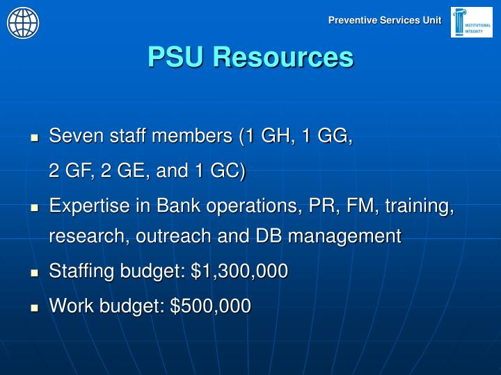 PSU Resources