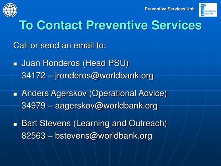 To Contact Preventive Services
