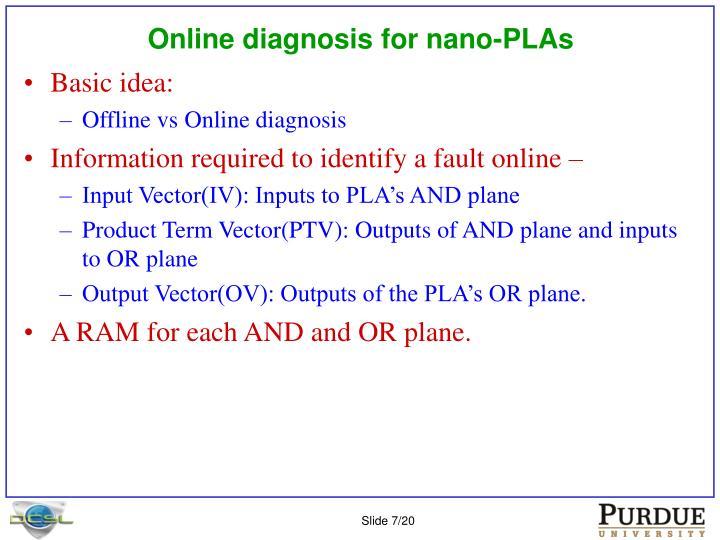 Online diagnosis for nano-PLAs